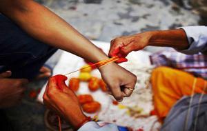 Nepal Celebrating Janai Purnima festival