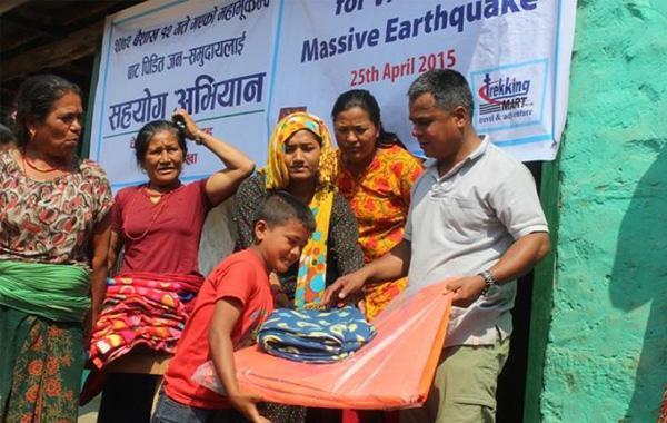Trekking Mart Helping in Earthquake Relief Distribution
