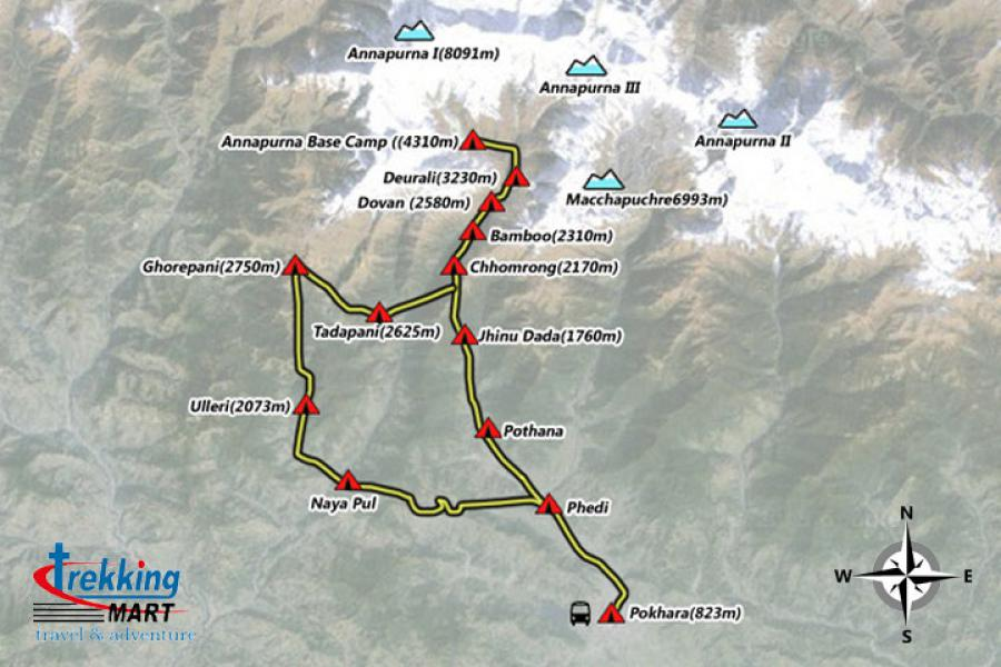Annapurna Base Camp Trekking-14 Days Trip Map