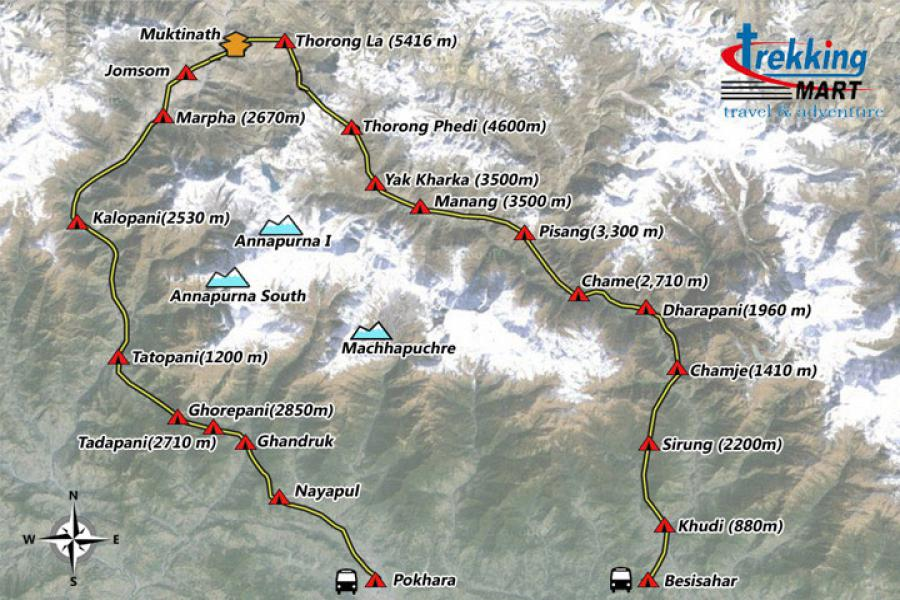 Annapurna Circuit Trekking-21 Days Trip Map