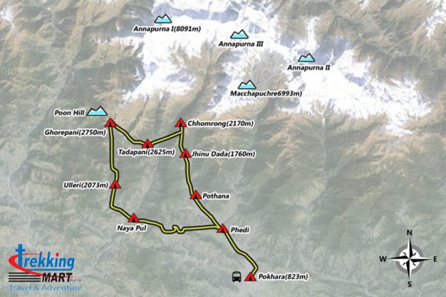 Annapurna Foothill Trekking Trip Map