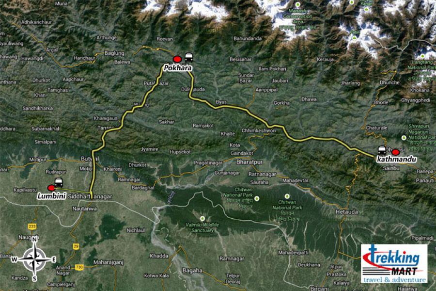 Buddhist Cultural Tour Trip Map