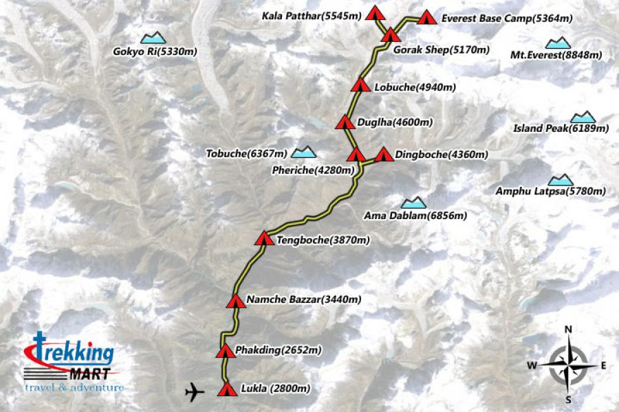 Everest Base Camp Trekking-15 Days  Trip Map