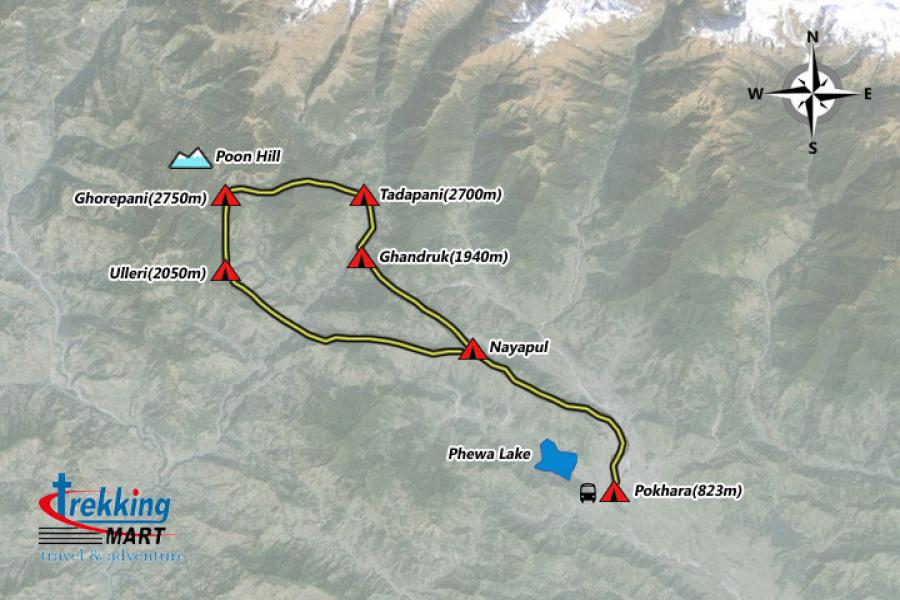 Ghorepani Poon Hill Trekking-8 Days Trip Map