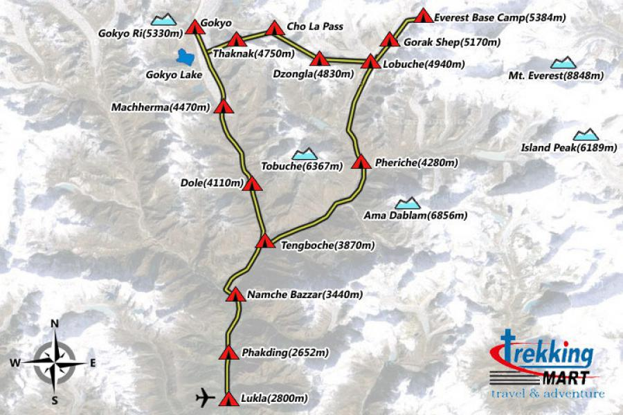 Gokyo Lake-Everest Base Camp Trek-18 Days  Trip Map