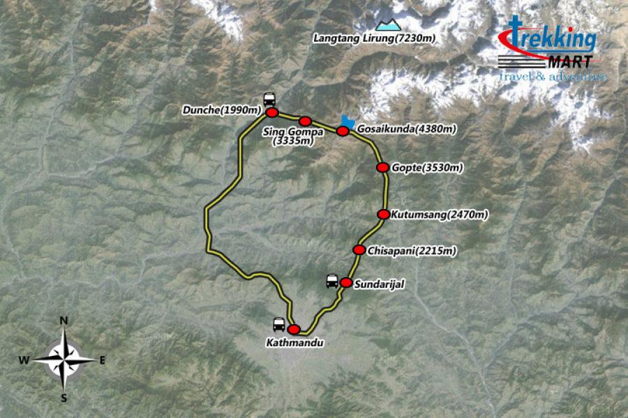 Gosainkunda Lake Trekking-9 Days Trip Map