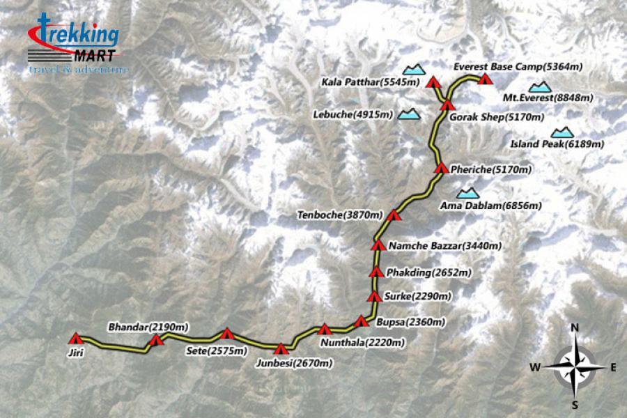 Jiri To Everest Base Camp Trekking-21 Days  Trip Map