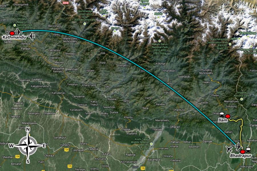 Kathmandu and Ilam Tour Trip Map