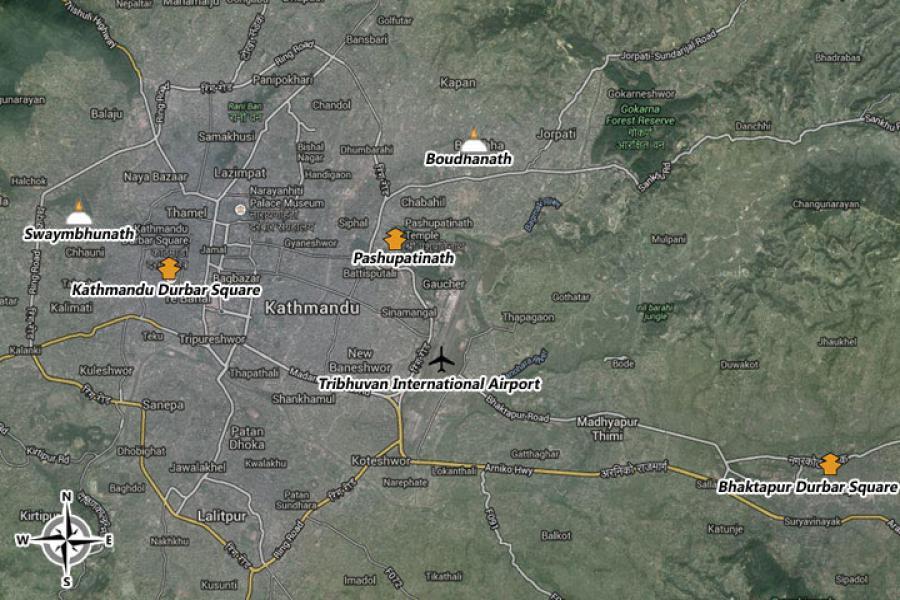 Kathmandu City Tour Trip Map