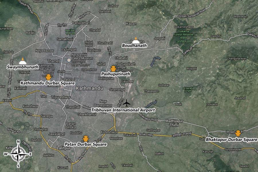 Kathmandu Transit Tour Trip Map