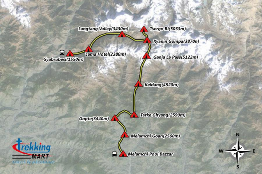 Ganjala Pass Trekking-14 Days Trip Map