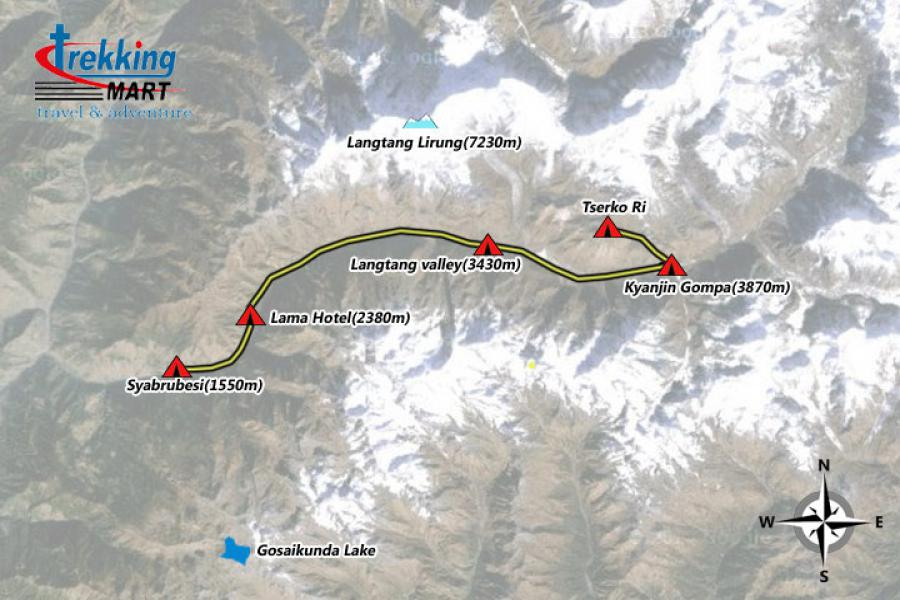 Langtang Valley Trekking-10 Days Trip Map