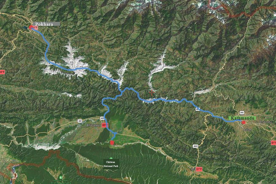 Nepal Classic Tour Trip Map