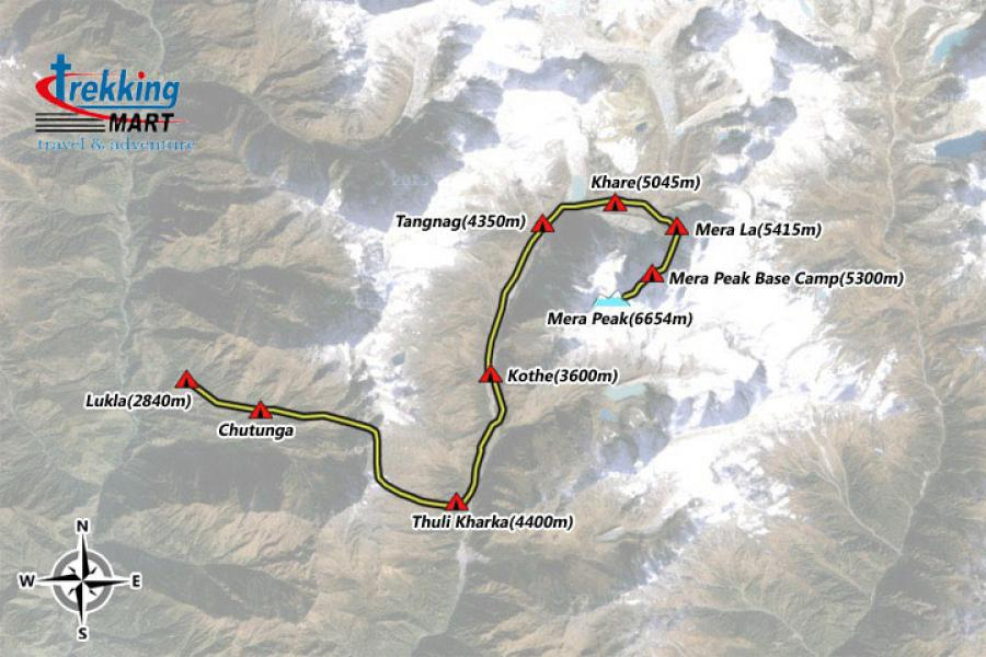 Mera Peak Climbing Trip Map