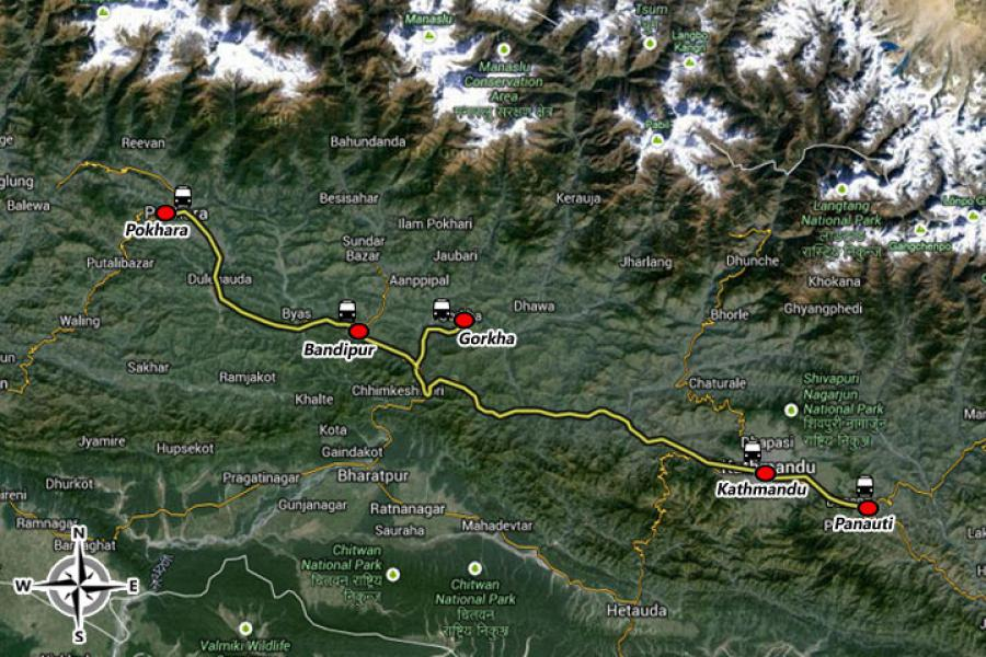 Nepal Eco-Culture Tour Trip Map