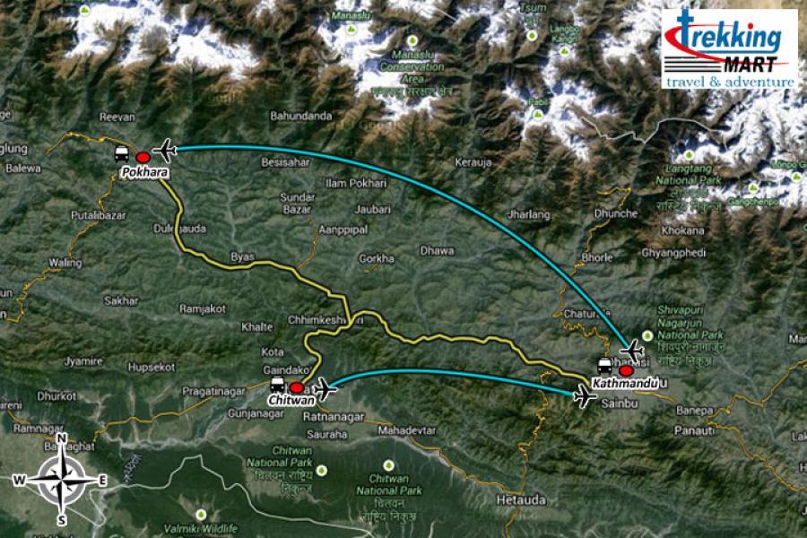 Nepal Exclusive Tour Trip Map