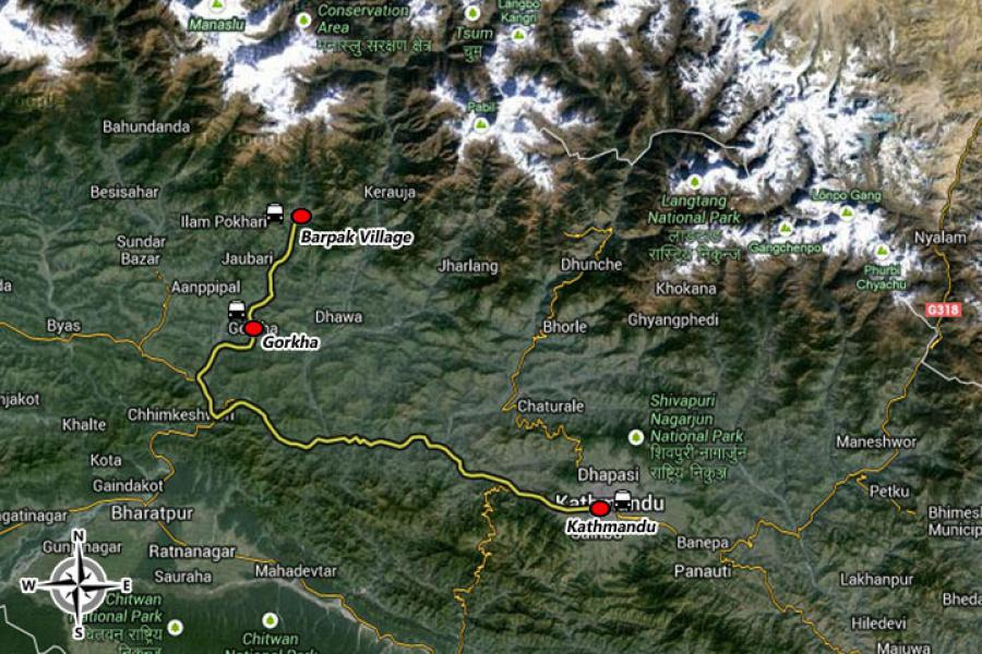 Nepal Homestay Package Tour Trip Map