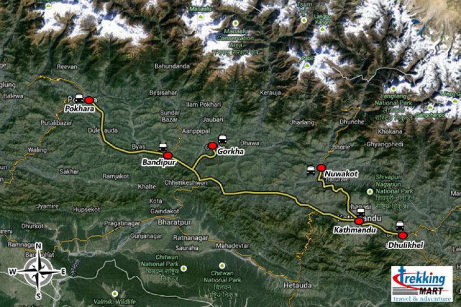 Nepal Round Tour Trip Map