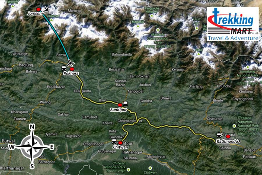 Photography Tour Nepal Trip Map