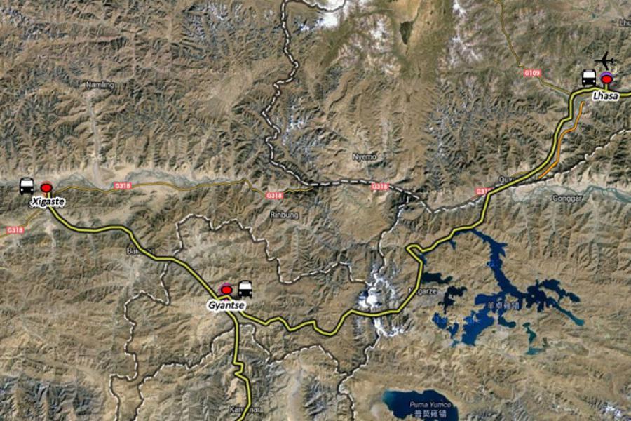 Tibet Culture Tour-8 days Trip Map
