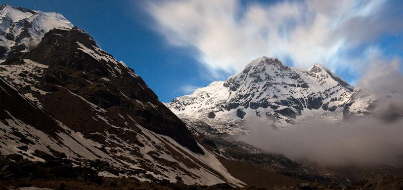Annapurna Himalayas in a foggy morning