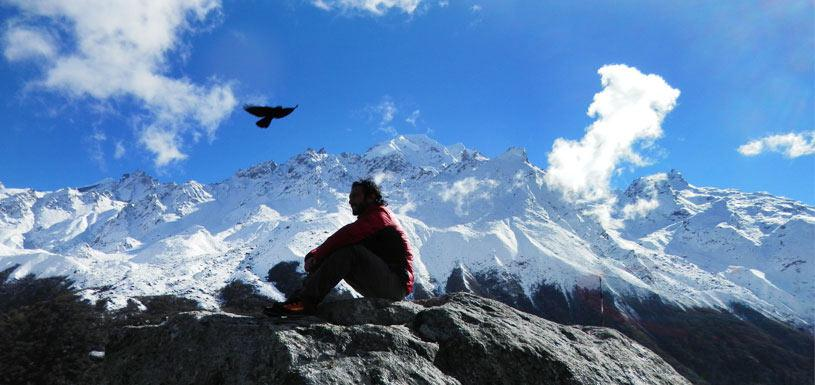 Guest taking rest on trekking to Langtang