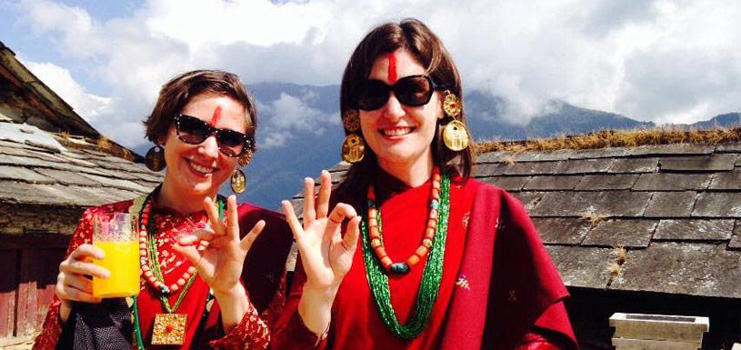 Guests wearing Gurung cultural dress