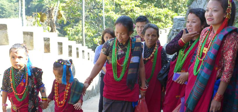 Gurung people in their traditional costume