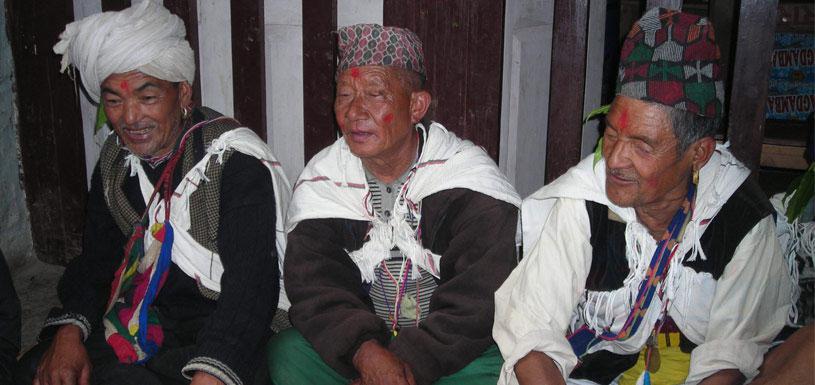 Gurung men on traditional dress