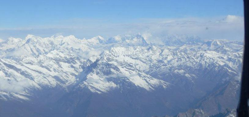 View of Himalayas from helicopter