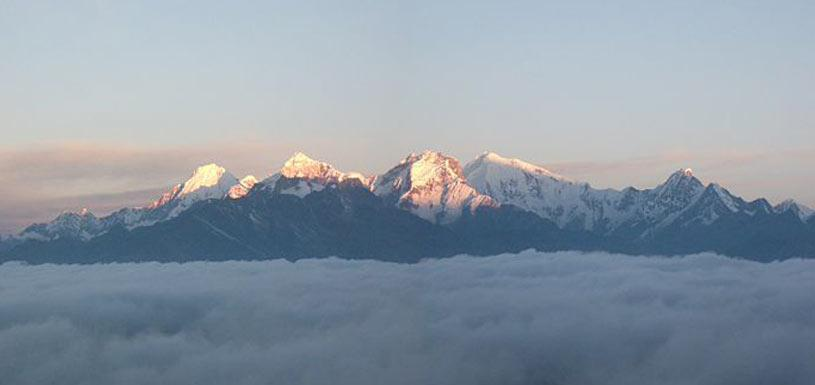 Sunrise at Langtang mountain range