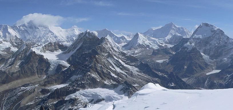 Stunning view of mountains around Mera Peak