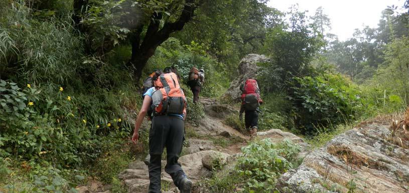 Trekking through rough himalayan trail