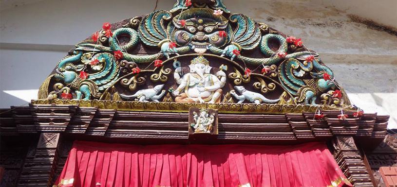 Tympanum on Karya Binayak Temple