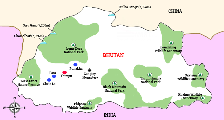map of butan